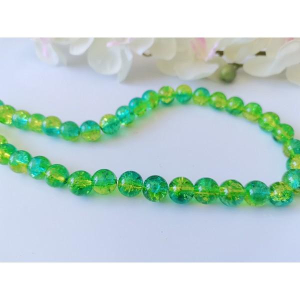 Perles en verre craquelé bicolore 10 mm vert et jaune x 10 - Photo n°1
