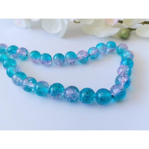 Perles en verre craquelé bicolore 10 mm bleu et mauve x 10 - Photo n°1