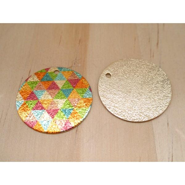 2 Breloques rondes pailletées 20mm imprimé géométrique triangles doré, vert, orange, bleu - dos doré - Photo n°2