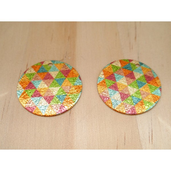 2 Breloques rondes pailletées 20mm imprimé géométrique triangles doré, vert, orange, bleu - dos doré - Photo n°1