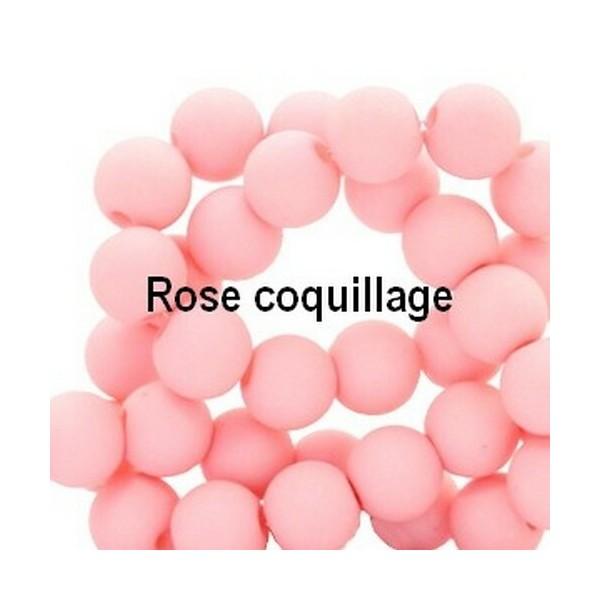 Lot de 200  perles acryliqes 6mm de diametre rose coquillage - Photo n°1