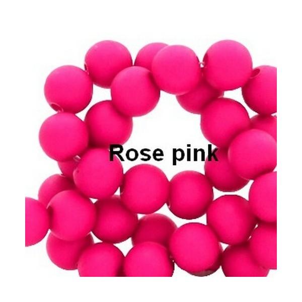 Lot de 200  perles acryliqes 6mm de diametre rose pink - Photo n°1