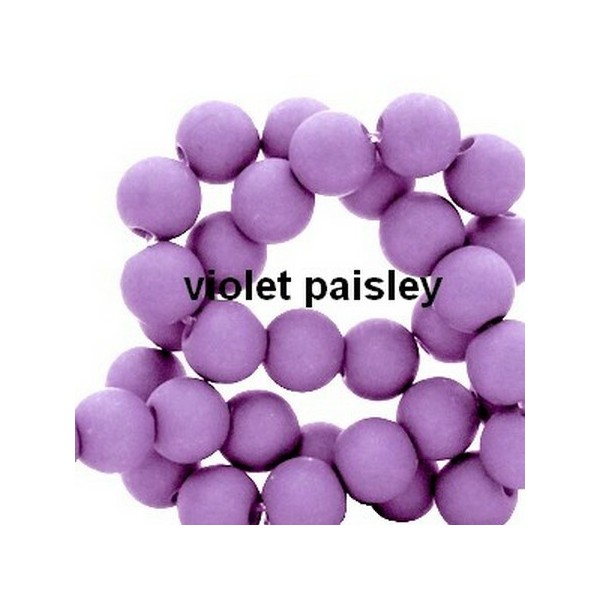 Lot de 200  perles acryliqes 6mm de diametre violet paisley - Photo n°1
