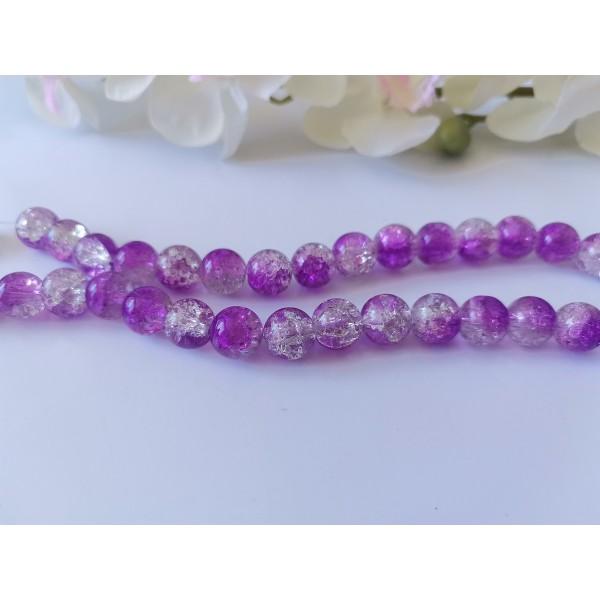 Perles en verre craquelé bicolore 10 mm violet et cristal x 10 - Photo n°1