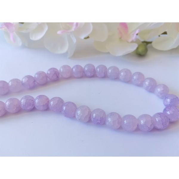Perles en verre craquelé 10 mm lilas x 10 - Photo n°1