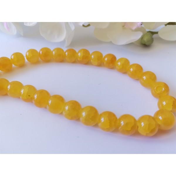Perles en verre craquelé 10 mm jaune x 10 - Photo n°1