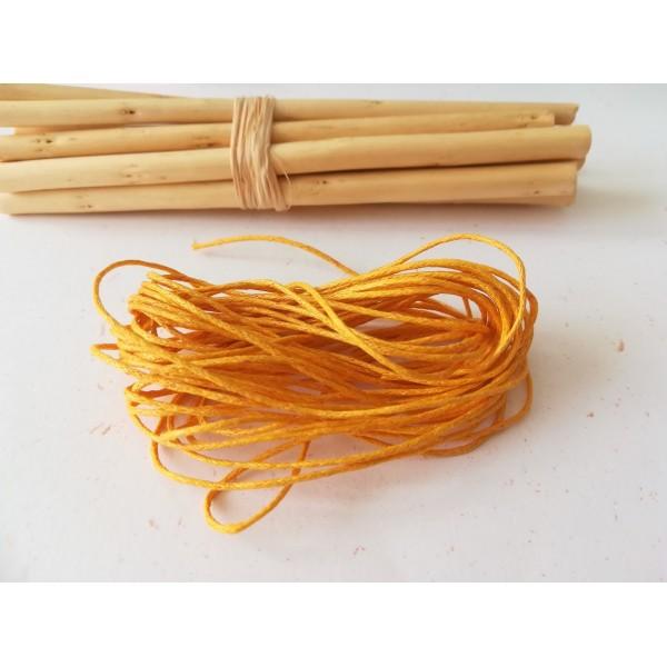 Fil coton ciré jaune orangé 1 mm x 5 m - Photo n°1