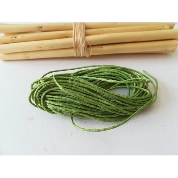 Fil coton ciré vert clair 1 mm x 5 m - Photo n°1