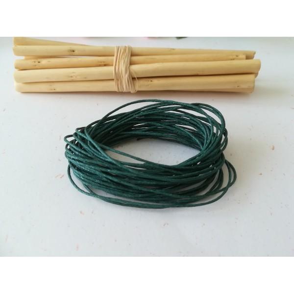 Fil coton ciré vert foncé 1 mm x 5 m - Photo n°1