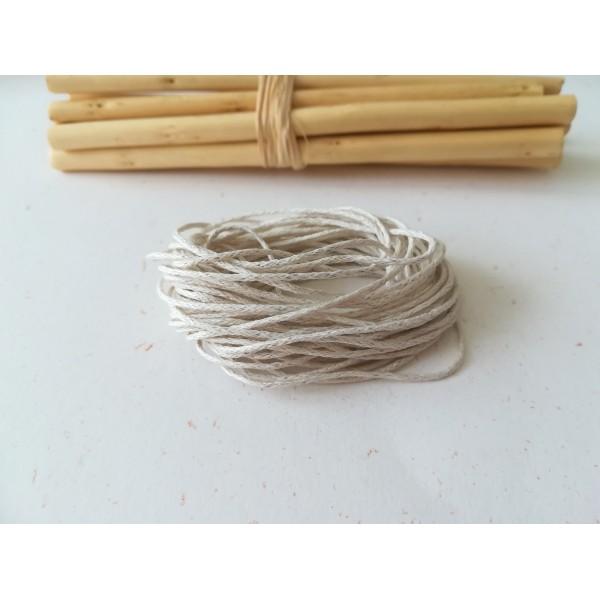 Fil coton ciré beige 1 mm x 5 m - Photo n°1